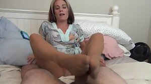 Mom Gives Son Footjob While On Phone..